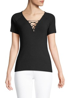 BCBG Max Azria Knit Lace-Up Sweater Top