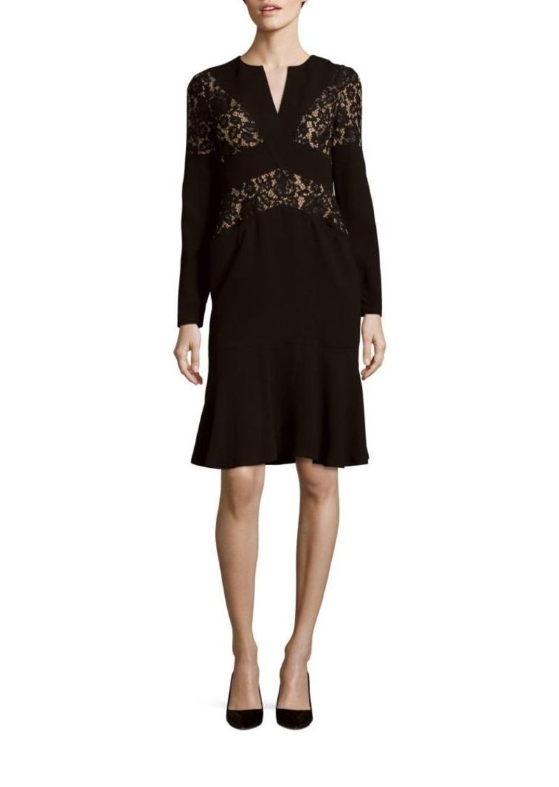 BCBG Max Azria Krizia Lace Trim V-Neck Dress