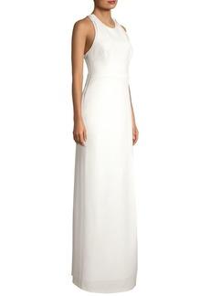 BCBG Max Azria Lace-Back Halterneck Gown