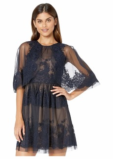 BCBG Max Azria Lace Dress with Overlay Cape Detail