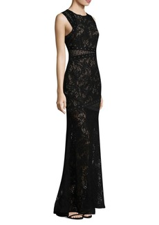 BCBG Max Azria Lace Embellished Gown