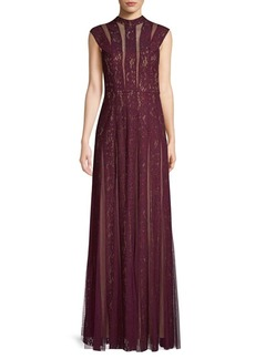 BCBG Max Azria Lace Insert Tulle Maxi Dress