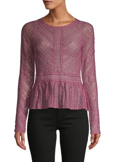 BCBG Max Azria Lace Long-Sleeve Top