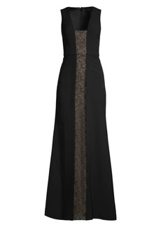 BCBG Max Azria Lace Panel Sleeveless Gown