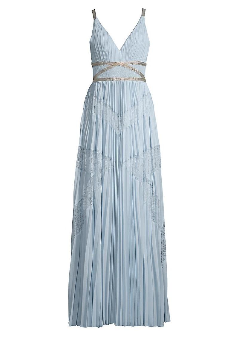 BCBG Max Azria Lace Pleated Georgette A-Line Dress