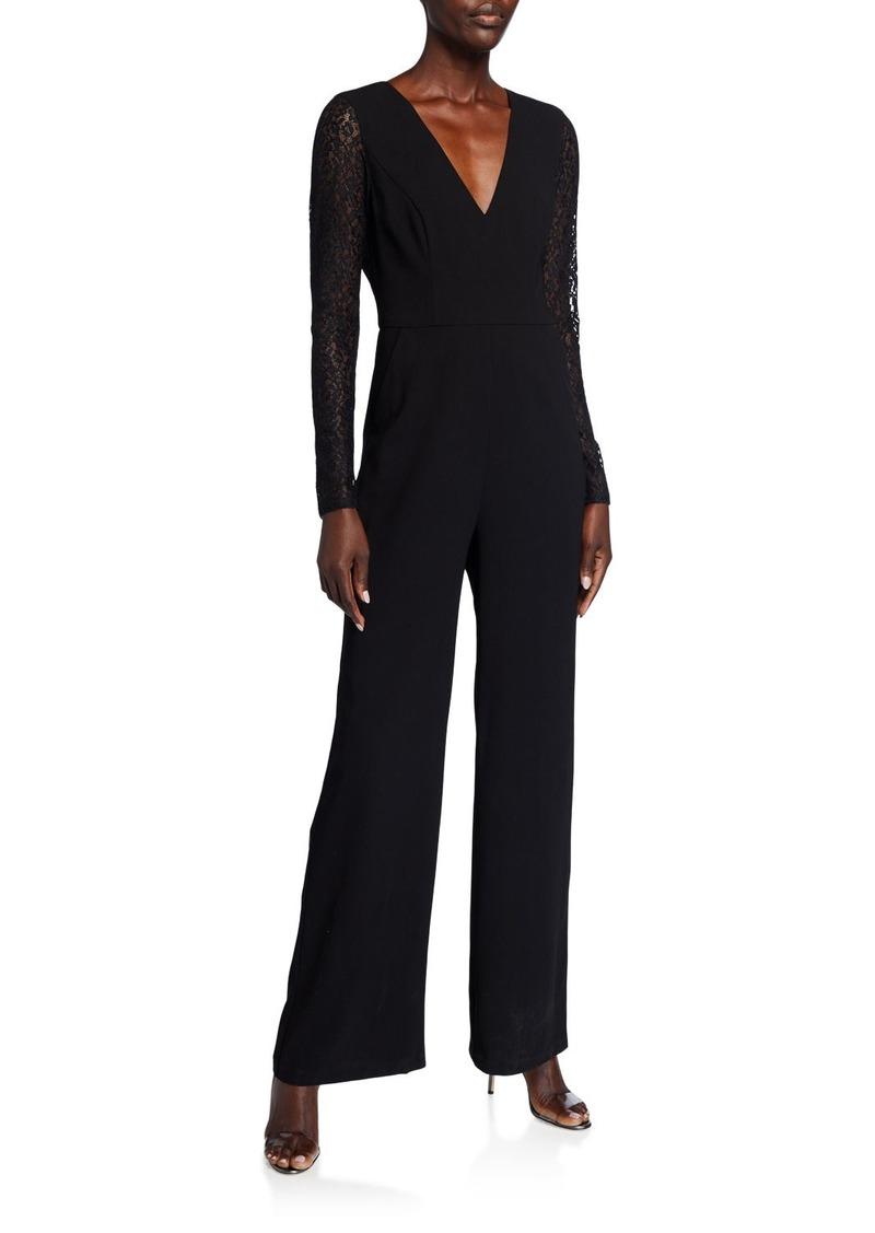 BCBG Max Azria Lace-Sleeve Wide Leg Jumpsuit