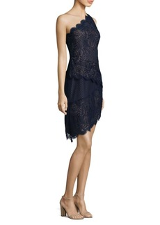 BCBG Max Azria Lace Tiered One-Shoulder Dress