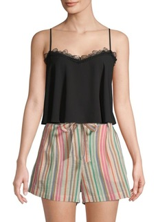 BCBG Max Azria Lace-Trimmed Cropped Top