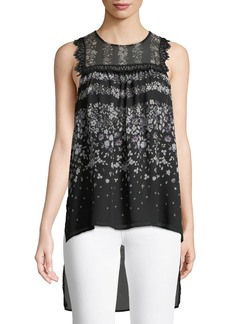 BCBG Max Azria Lace-Trimmed Floral High-Low  Blouse