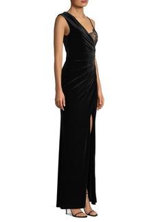 BCBG Max Azria Lace-Trimmed Velvet Gown