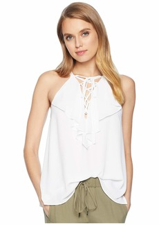 BCBG Max Azria Lace-Up Ruffle Tank Top