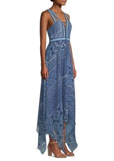 BCBG Max Azria Lace-Up V-Neck Handkerchief Dress