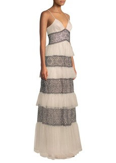 BCBG Max Azria Layered Lace Gown