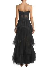 BCBG Max Azria Layered Tulle & Mesh Sleeveless Corset Gown