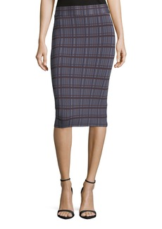 BCBG Max Azria Leger-Plaid Knit Pencil Skirt
