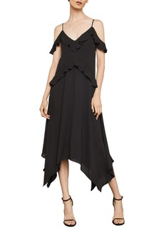 BCBG Max Azria Lissa Asymmetrical Slip Satin A-Line Dress