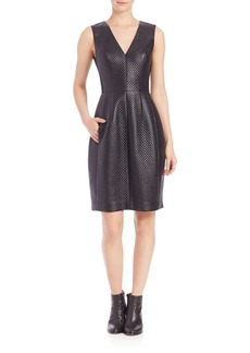 BCBG Max Azria Livie Quilted Faux-Leather Dress
