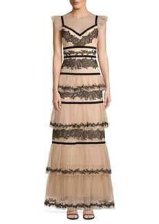 BCBG Max Azria Long Lace Tiered Dress