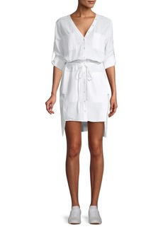 BCBG Max Azria Long-Sleeve Cotton Blend Button-Front Dress