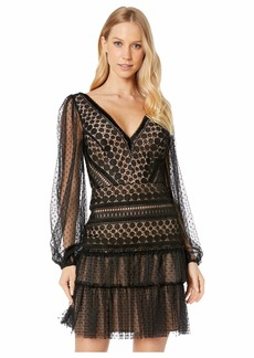 BCBG Max Azria Long Sleeve Lace Cocktail Dress