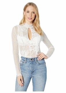 BCBG Max Azria Long Sleeve Lace Cut Out Bodysuit