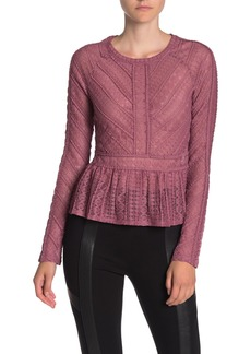 BCBG Max Azria Long Sleeve Lace Knit Top