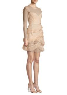 BCBG Max Azria Long Sleeve Pleated Tulle Mini Dress