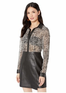 BCBG Max Azria Long Sleeve Printed Dress with Faux Leather Skirt