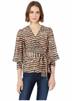 BCBG Max Azria Long Sleeve Printed Faux Wrap Woven Top