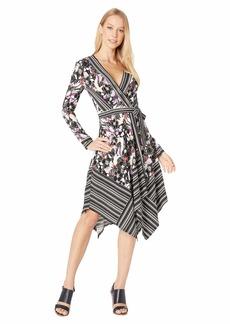 BCBG Max Azria Long Sleeve Printed Matte Jersey Wrap Dress