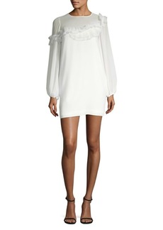 BCBG Max Azria Long-Sleeve Ruffle-Trimmed Shift Dress