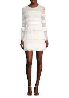 BCBG Max Azria Long-Sleeve Tiered Ruffle Dress