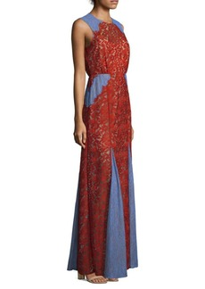 BCBG Max Azria Marlyn Lace Colorblock Long Dress