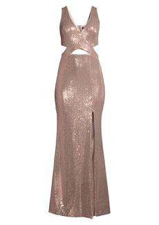 BCBG Max Azria Metallic Cutout Gown