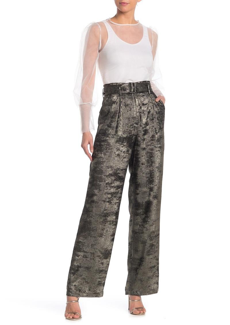 BCBG Max Azria Metallic High Waist Woven Pants
