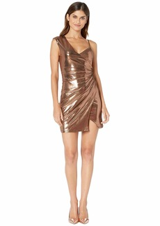 BCBG Max Azria Metallic One Shoulder Shirred Dress