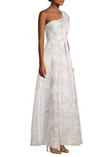BCBG Max Azria Metallic Organza One Shoulder Gown
