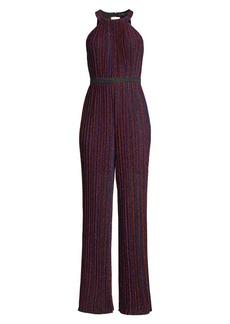 BCBG Max Azria Metallic Pleated Striped Jumpsuit
