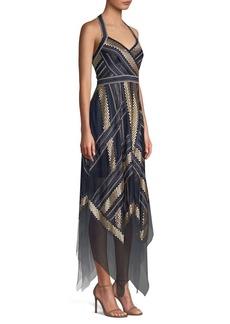 BCBG Max Azria Metallic Striped Handkerchief Dress