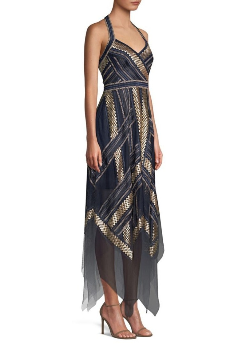 9426e7a5b24 BCBG Max Azria Metallic Striped Handkerchief Dress