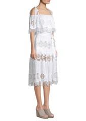 BCBG Max Azria Midi Eyelet A-Line Dress