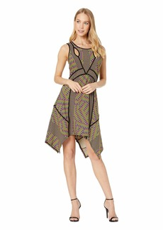 BCBG Max Azria Mixed Print Handkerchief Dress
