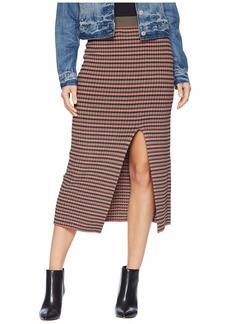 BCBG Max Azria Multicolor Stripe Rib High-Waist Pencil Skirt
