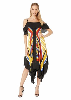 BCBG Max Azria Off the Shoulder Printed Asymmetrical Hem Dress