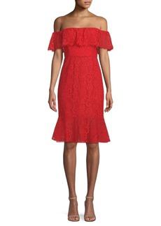 BCBG Max Azria Off-The-Shoulder Lace Dress