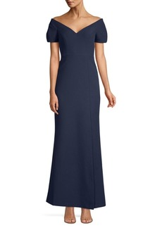 BCBG Max Azria Off-The-Shoulder Stretch Crepe Gown