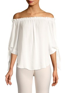 BCBG Max Azria Off-The-Shoulder Tie Cuff Blouse