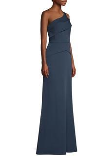 BCBG Max Azria One-Shoulder Crepe de Chine Gown