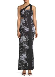 BCBG Max Azria One Shoulder Floral Gown