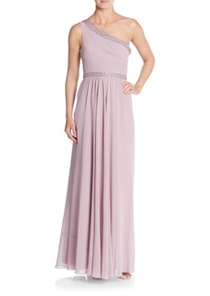 BCBG Max Azria One-Shoulder Jeweled Georgette Gown
